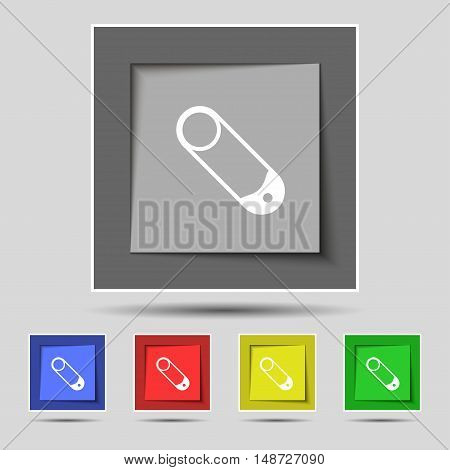 Pushpin Icon Sign On Original Five Colored Buttons. Vector