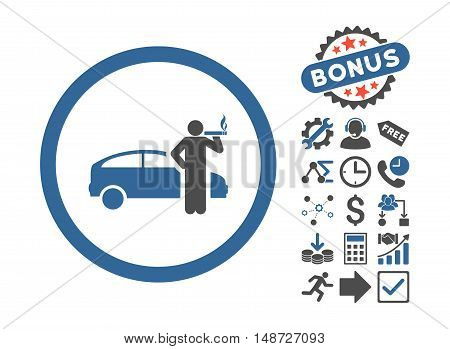 Smoking Taxi Driver icon with bonus pictogram. Vector illustration style is flat iconic bicolor symbols, cobalt and gray colors, white background.