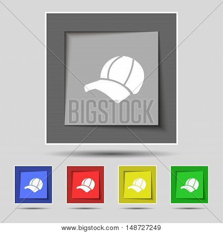 Ball Cap Icon Sign On Original Five Colored Buttons. Vector