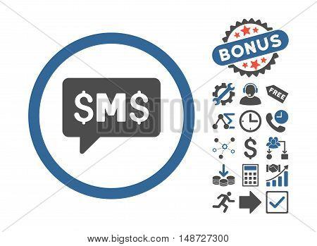 SMS Message icon with bonus pictures. Vector illustration style is flat iconic bicolor symbols, cobalt and gray colors, white background.