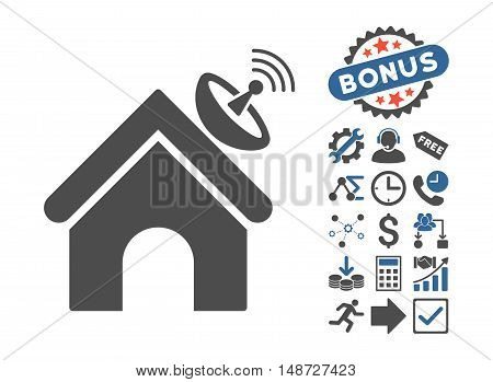 Space Antenna Building icon with bonus images. Vector illustration style is flat iconic bicolor symbols, cobalt and gray colors, white background.