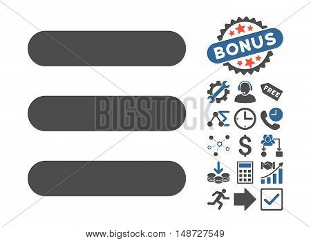 Stack icon with bonus images. Vector illustration style is flat iconic bicolor symbols, cobalt and gray colors, white background.