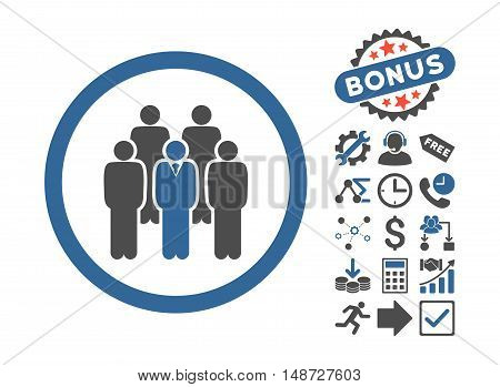 Staff pictograph with bonus pictograph collection. Vector illustration style is flat iconic bicolor symbols, cobalt and gray colors, white background.