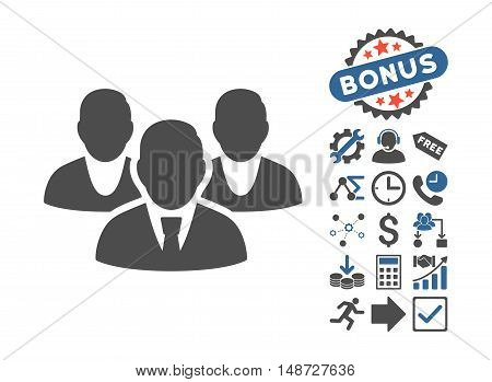 Staff icon with bonus clip art. Vector illustration style is flat iconic bicolor symbols, cobalt and gray colors, white background.
