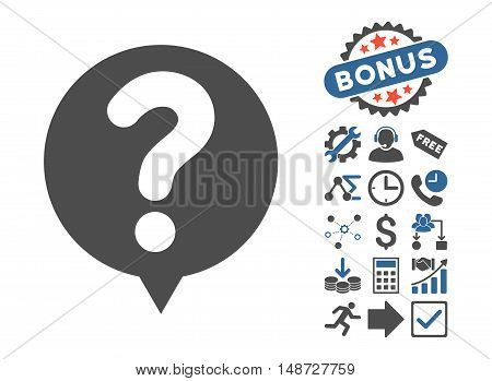 Status Balloon pictograph with bonus pictures. Vector illustration style is flat iconic bicolor symbols, cobalt and gray colors, white background.