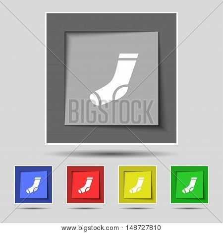 Socks Icon Sign On Original Five Colored Buttons. Vector