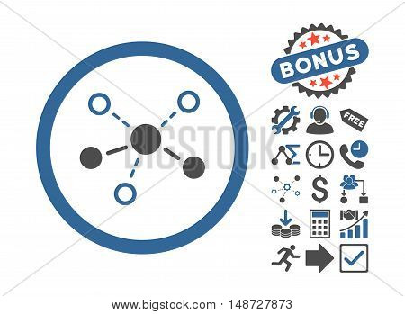 Structure icon with bonus symbols. Vector illustration style is flat iconic bicolor symbols, cobalt and gray colors, white background.
