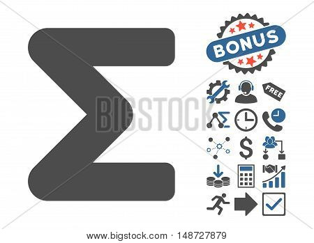 Sum icon with bonus pictogram. Vector illustration style is flat iconic bicolor symbols, cobalt and gray colors, white background.