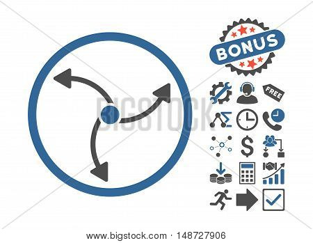 Swirl Direction icon with bonus design elements. Vector illustration style is flat iconic bicolor symbols, cobalt and gray colors, white background.