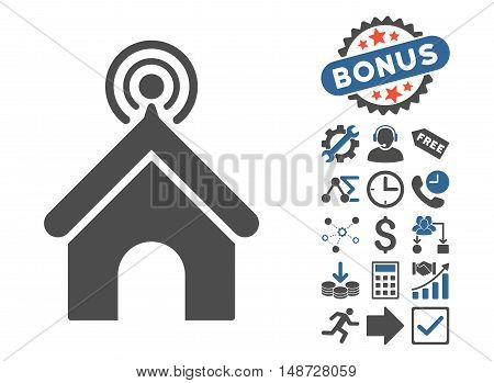 Telecom Office icon with bonus pictogram. Vector illustration style is flat iconic bicolor symbols, cobalt and gray colors, white background.