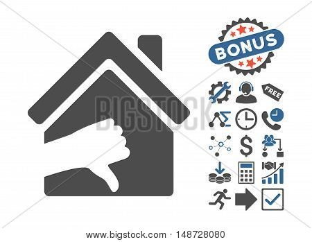 Terrible House pictograph with bonus icon set. Vector illustration style is flat iconic bicolor symbols, cobalt and gray colors, white background.
