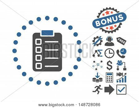 Test Task icon with bonus images. Vector illustration style is flat iconic bicolor symbols, cobalt and gray colors, white background.