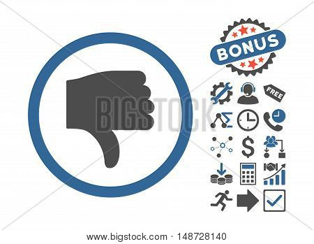 Thumb Down icon with bonus symbols. Vector illustration style is flat iconic bicolor symbols, cobalt and gray colors, white background.