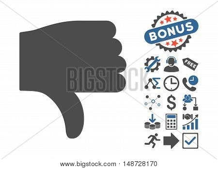 Thumb Down pictograph with bonus symbols. Vector illustration style is flat iconic bicolor symbols, cobalt and gray colors, white background.