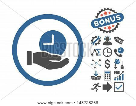 Time Service icon with bonus pictograph collection. Vector illustration style is flat iconic bicolor symbols, cobalt and gray colors, white background.
