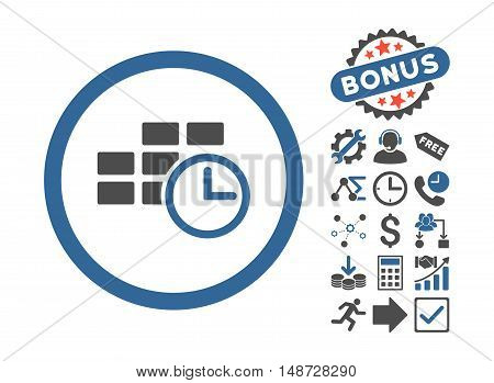 Time Table pictograph with bonus design elements. Vector illustration style is flat iconic bicolor symbols, cobalt and gray colors, white background.