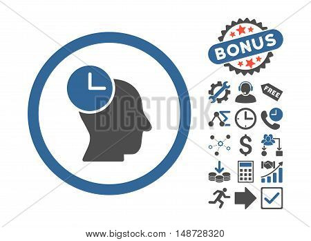 Time Thinking icon with bonus pictograph collection. Vector illustration style is flat iconic bicolor symbols, cobalt and gray colors, white background.