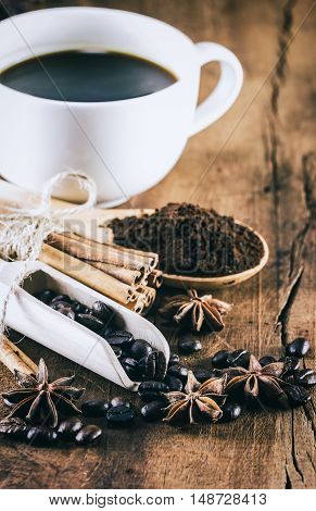 Cup Of Coffee On The Wood Table That Suitable For Background,backdrop,wallpaper,display And Artwork
