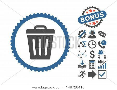 Trash Can icon with bonus design elements. Vector illustration style is flat iconic bicolor symbols, cobalt and gray colors, white background.