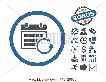 Update Calendar pictograph with bonus pictograph collection. Vector illustration style is flat iconic bicolor symbols, cobalt and gray colors, white background.