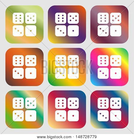 Dices Icon Sign. Nine Buttons With Bright Gradients For Beautiful Design. Vector