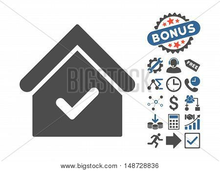 Valid House pictograph with bonus clip art. Vector illustration style is flat iconic bicolor symbols, cobalt and gray colors, white background.