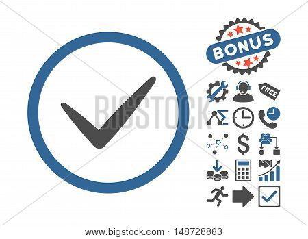 Valid icon with bonus icon set. Vector illustration style is flat iconic bicolor symbols, cobalt and gray colors, white background.