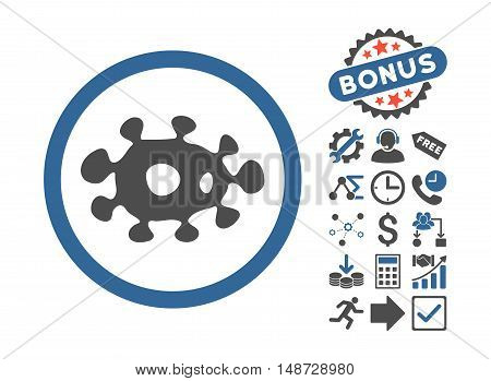 Virus pictograph with bonus clip art. Vector illustration style is flat iconic bicolor symbols, cobalt and gray colors, white background.