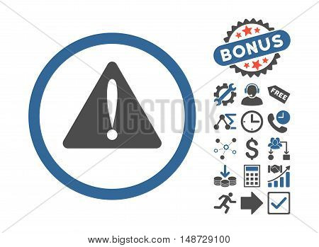 Warning Error icon with bonus icon set. Vector illustration style is flat iconic bicolor symbols, cobalt and gray colors, white background.