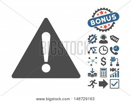 Warning icon with bonus elements. Vector illustration style is flat iconic bicolor symbols, cobalt and gray colors, white background.