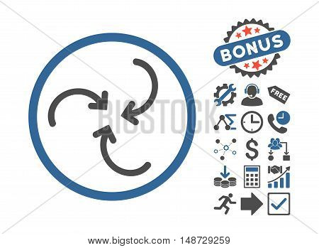 Whirl Arrows pictograph with bonus clip art. Vector illustration style is flat iconic bicolor symbols, cobalt and gray colors, white background.