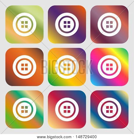 Sewing Button Sign. Nine Buttons With Bright Gradients For Beautiful Design. Vector