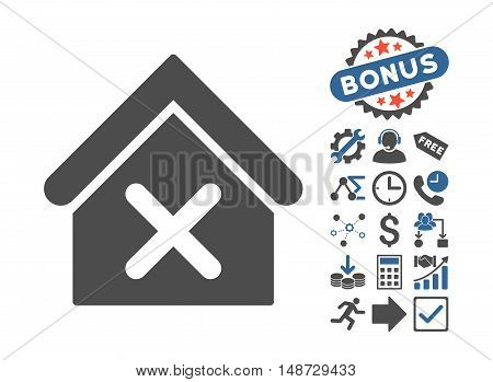 Wrong House icon with bonus icon set. Vector illustration style is flat iconic bicolor symbols, cobalt and gray colors, white background.