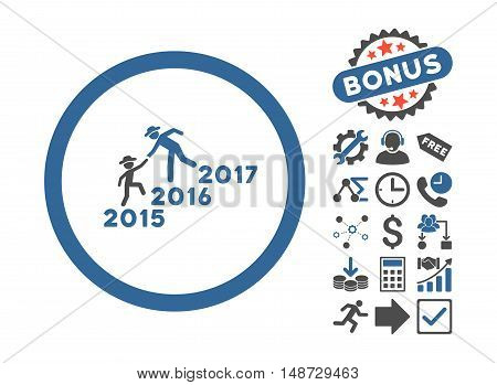Years Guys Help icon with bonus clip art. Vector illustration style is flat iconic bicolor symbols, cobalt and gray colors, white background.