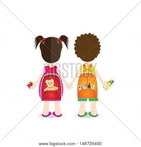 Backs of school kids with colorful rucksacks isolated on white background character flat design vector illustration.