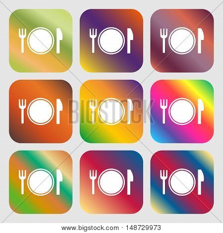 Plate Icon Sign. Nine Buttons With Bright Gradients For Beautiful Design. Vector