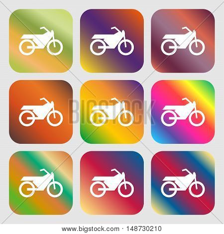 Motorbike Icon Sign. Nine Buttons With Bright Gradients For Beautiful Design. Vector