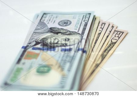 Close up view of pile of US dollars