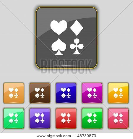 Card Suit Icon Sign. Set With Eleven Colored Buttons For Your Site. Vector