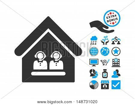 Call Center Office pictograph with bonus symbols. Vector illustration style is flat iconic bicolor symbols, blue and gray colors, white background.