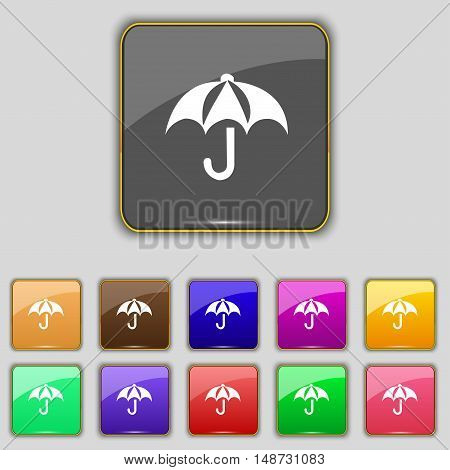 Umbrella Icon Sign. Set With Eleven Colored Buttons For Your Site. Vector