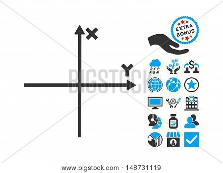 Cartesian Axes pictograph with bonus symbols. Vector illustration style is flat iconic bicolor symbols, blue and gray colors, white background.
