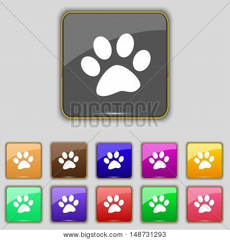 Paw Icon Sign. Set With Eleven Colored Buttons For Your Site. Vector