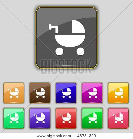 Baby Stroller Icon Sign. Set With Eleven Colored Buttons For Your Site. Vector