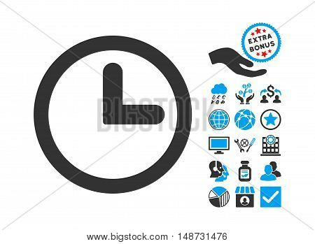 Clock icon with bonus images. Vector illustration style is flat iconic bicolor symbols, blue and gray colors, white background.