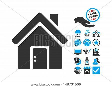 Closed House Door pictograph with bonus elements. Vector illustration style is flat iconic bicolor symbols, blue and gray colors, white background.
