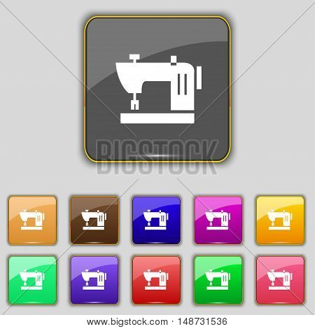 Sewing Machine Icon Sign. Set With Eleven Colored Buttons For Your Site. Vector
