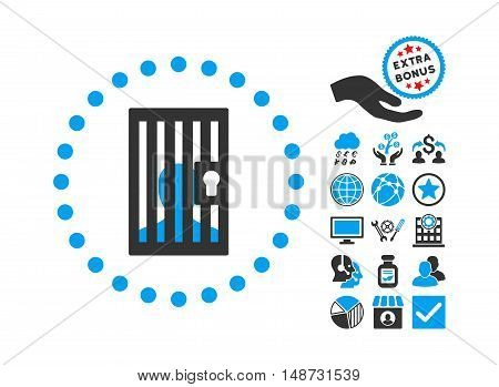 Closed Prisoner pictograph with bonus pictograph collection. Vector illustration style is flat iconic bicolor symbols, blue and gray colors, white background.