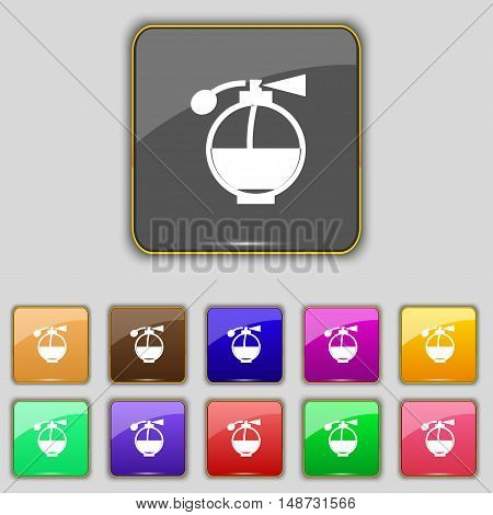 Perfume Icon Sign. Set With Eleven Colored Buttons For Your Site. Vector