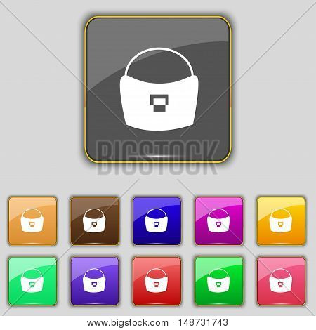 Woman Hand Bag Icon Sign. Set With Eleven Colored Buttons For Your Site. Vector